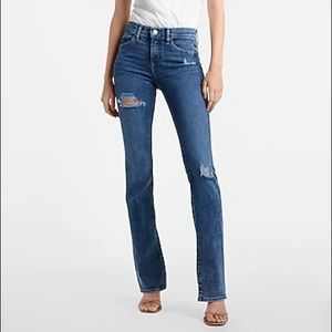 EXPRESS Bootcut Distressed Blue Jeans